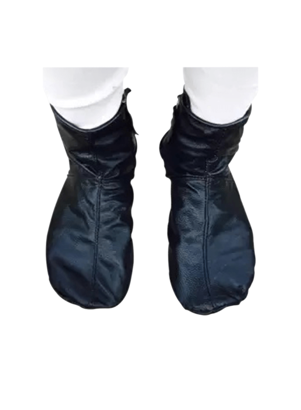 Mozay `B` Quality - 100% Genuine Leather Socks Warm Fabric inside for Cold Weather - Black - Unisex - Hajj & Umrah/