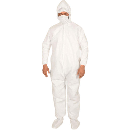 Unisex 50 GSM PPE Hazmat Protective Hooded Suit with Attached Shoe Covers/